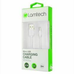 ΚΑΛΩΔΙΟ ΦΟΡΤΙΣΗΣ ΛΕΥΚΟ MICRO USB ΣΕ USB 2m LAMTECH LAM440993